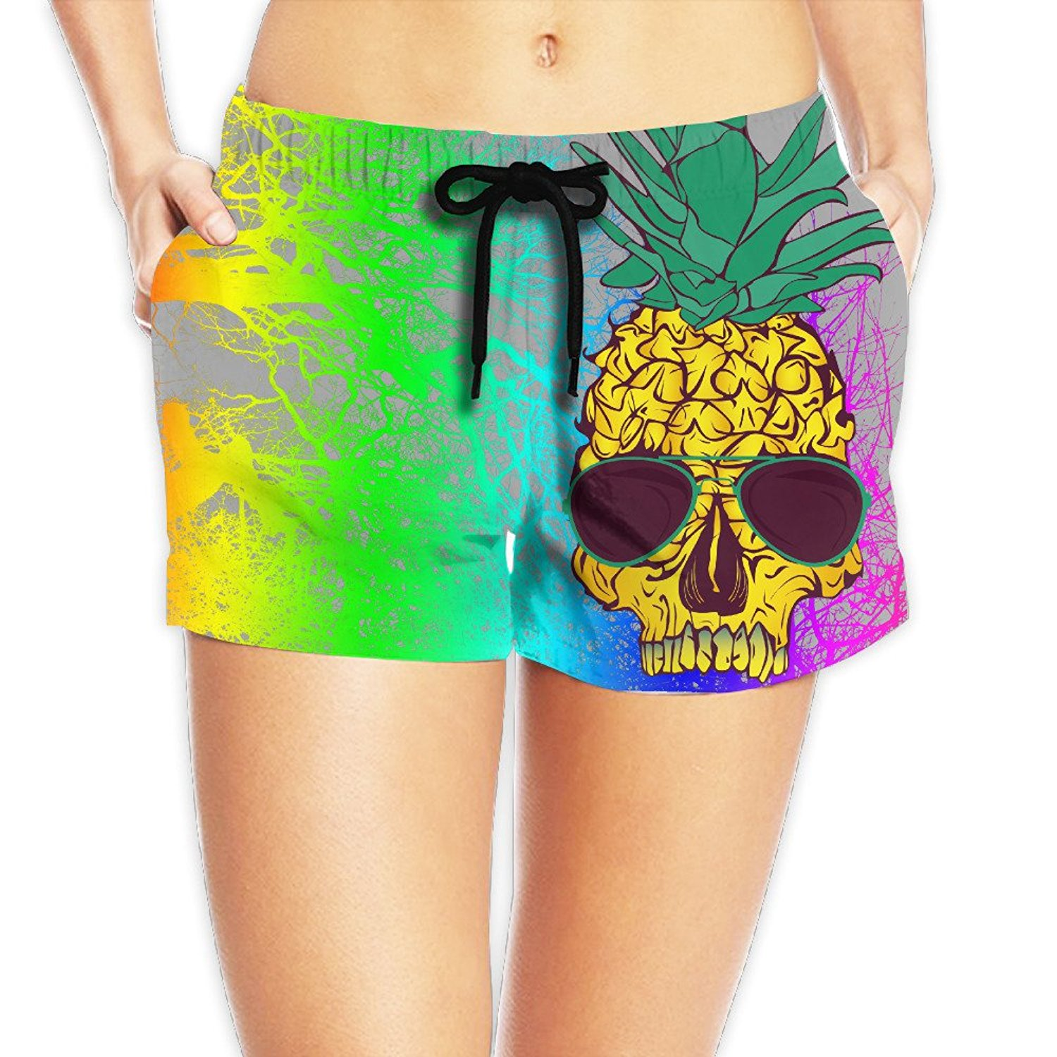 AS-WALL Womens Quick Dry Pineapple Fruit Skull Head Beach Shorts Surf Board Bathing Suits Holiday Swim Trunks