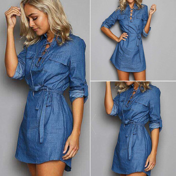 cedee65b0be New Autumn Long Sleeve Jean Dress Lace Up Dress - Buy Autumn ...