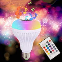 4.0 Smartphone Controlled RGBW E27 Dimmable Sleeping Mode Music wireless wifi smart bulb lamp led with bluetooth speaker