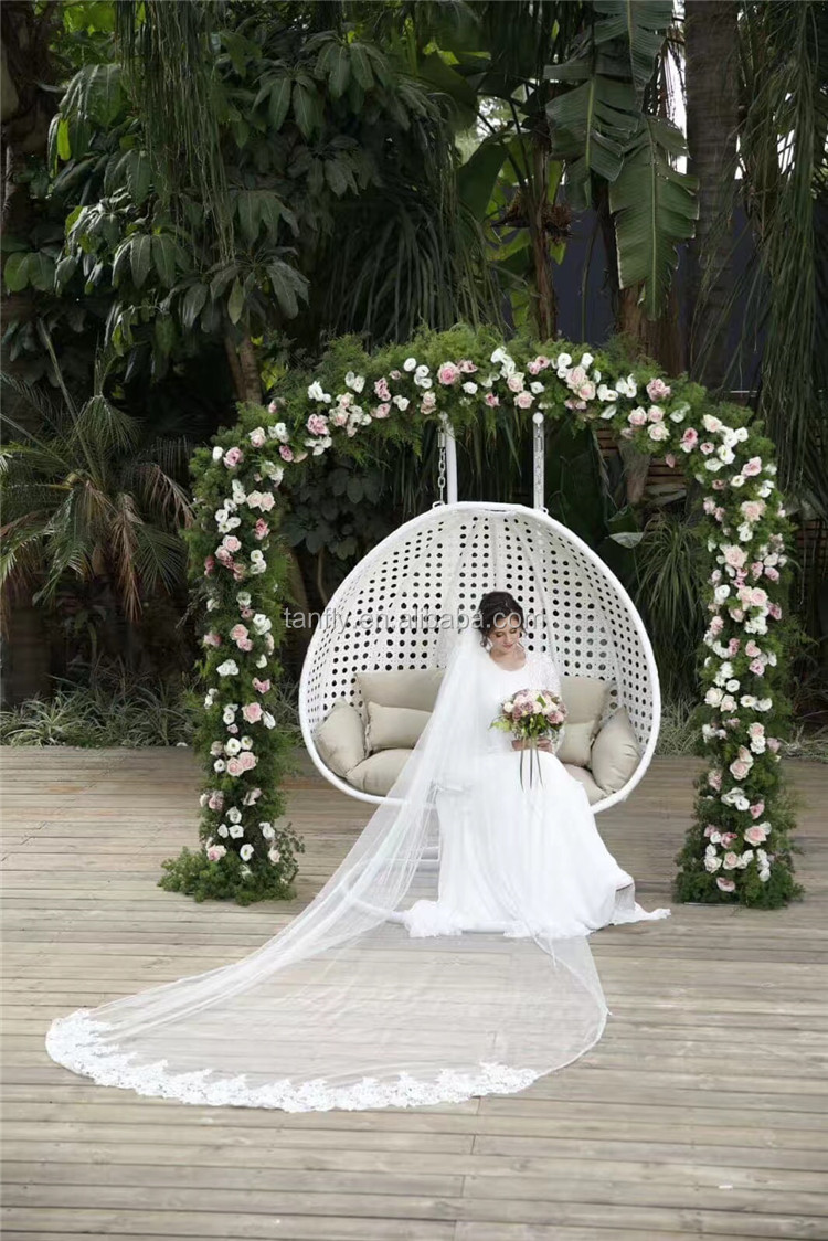Two Person Outdoor Garden Rattan Hanging Double chair Swing