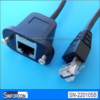 Overmolded bulkhead RJ45 female cable rj45 female panel mount cable