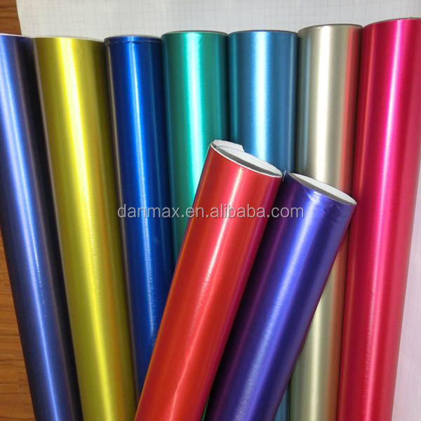 New fresh colorful chrome brushed metal vinyl car wrap with air channels