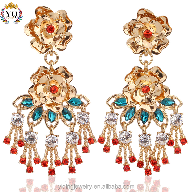 EYQ-00072 pressed flower red quartzhawaiian huggie chandelier gold drop earrings