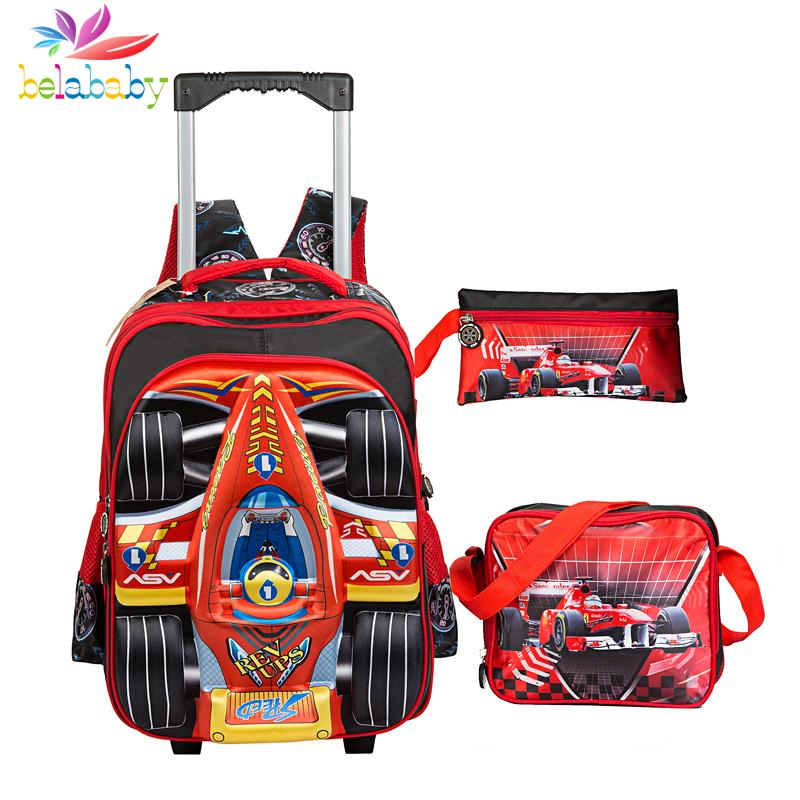 Belababy kids trolley school bag girls school backpacks wheels children orthopedic school backpack girls travel trolley bag