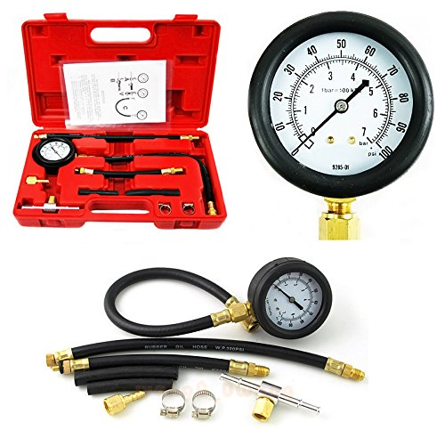 PMD Products Fuel Injection Pump Pressure Tester Test Kit 100 PSI 7 Bar for Most Cars Trucks