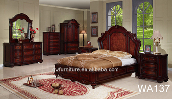 Dark Red Luxury And Elegant Wood Bedroom Set With Night Stand Mirror