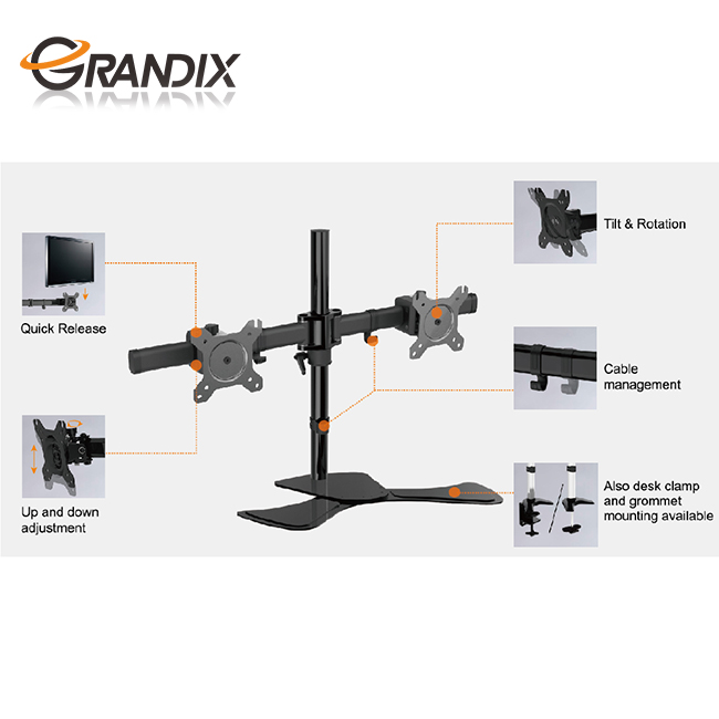 "Desktop 13""-27"" Swivel Computer monitor Arm Stand 360 Degree Rotation Dual LCD LED Monitor Stand Riser with Tempered Glass Base"