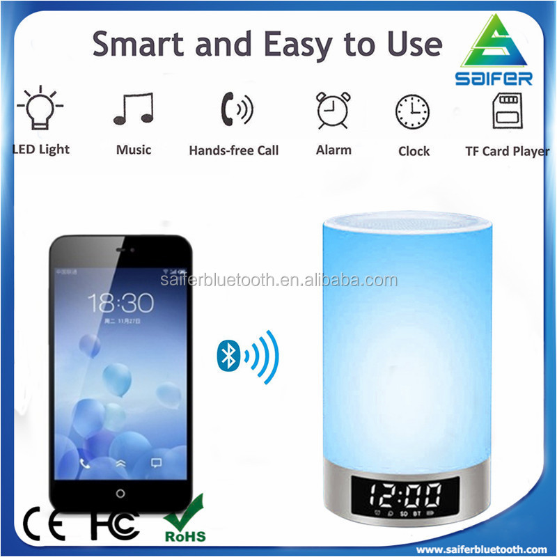 Touch Sensor Table Bluetooth led lamp speaker with Alarm clock/Timepiece/TF card player/Aux Factory Sales for night light