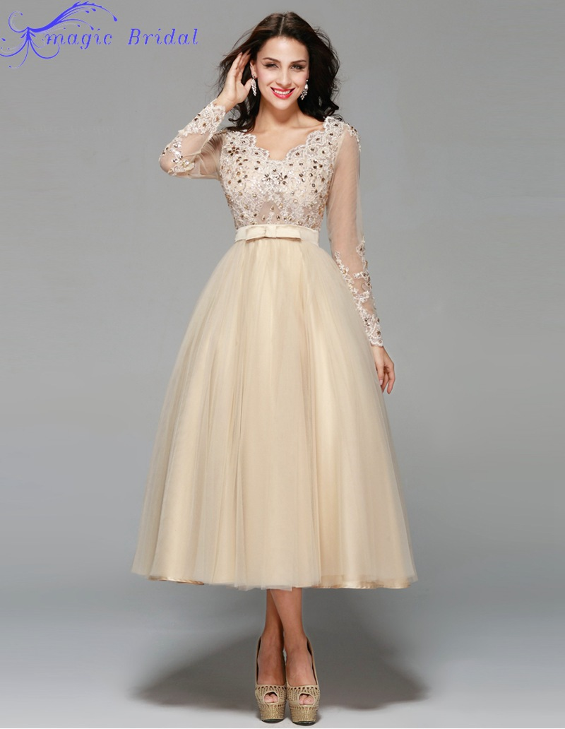 334da933f0d Cool wedding dresses for young  Champagne bridesmaid dresses tea length