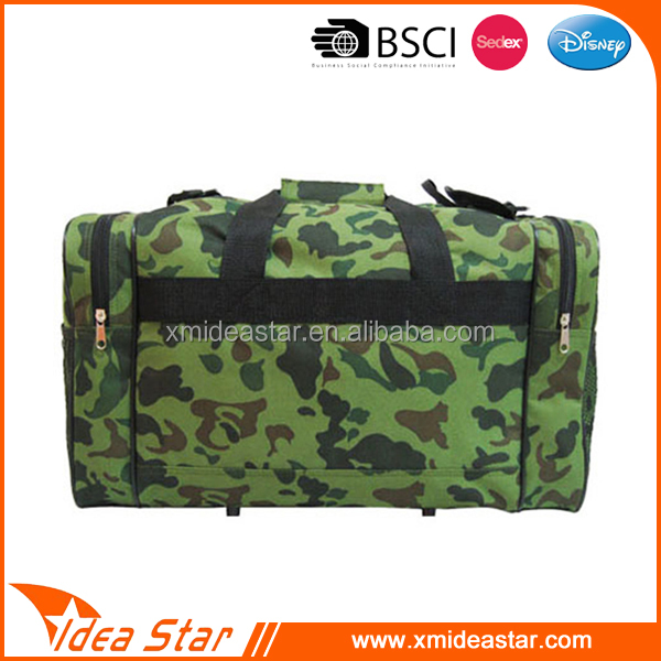 Outdoor large capacity customized army pattern travel fitness bag