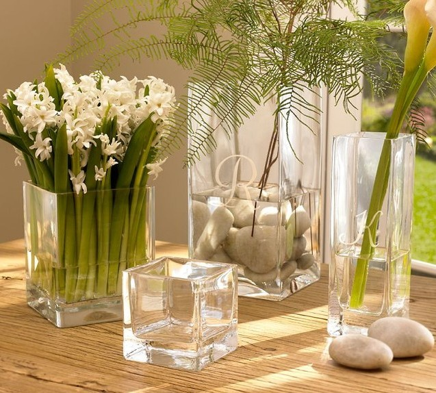 Wedding Centerpiece Clear Glass Square Flower Vase Buy Square