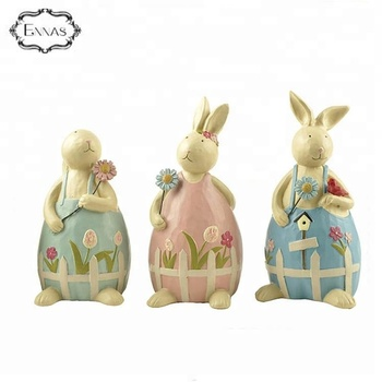 Factory Easter Resin Rabbit Statues Animal Home Decoration With Good Quality