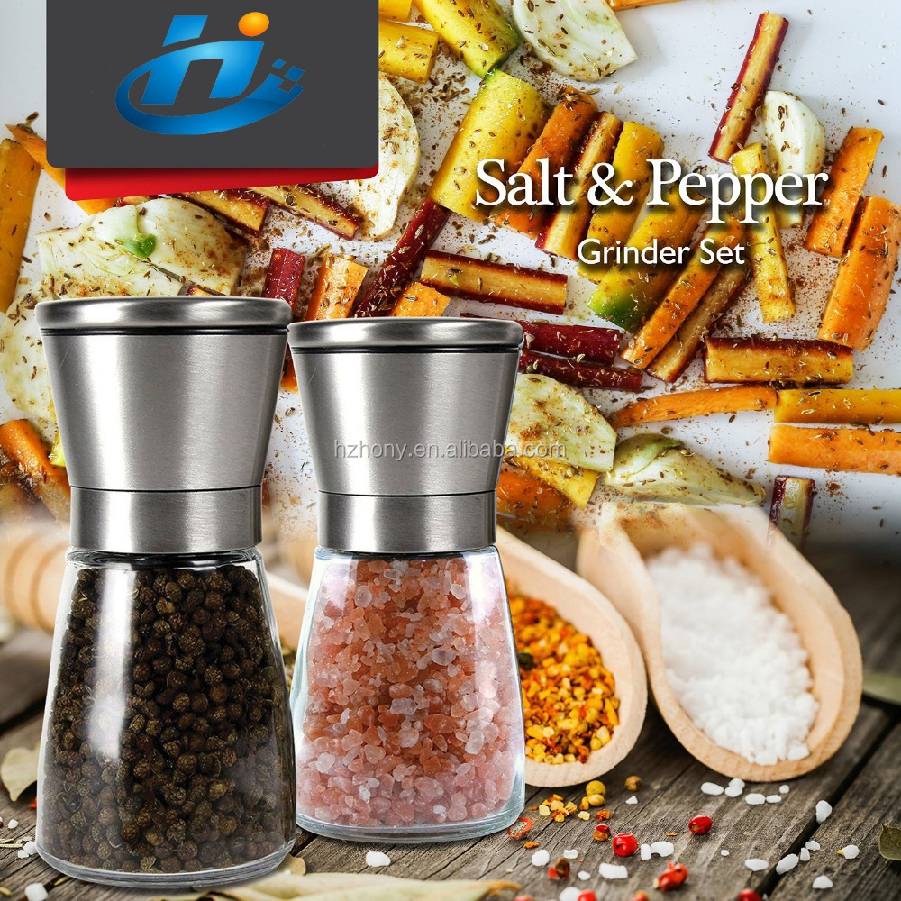 Salt and Pepper Grinders Set-Premium Salt and Pepper Shakers Maintain Spice Freshness-Adjustable Coarseness Pepper Grinder-Spice