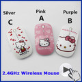 2 4Ghz Ultra Thin Slim Women Wireless Optical Mouse Sem Fio Mini Pink Hello Kitty Mice
