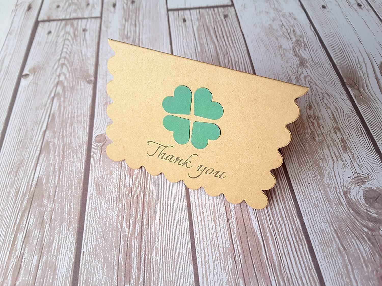 """2.5"""" x 3.5"""" Mini Shamrock Cards with Envelope / Shamrock Thank you cards / Mini Thank You Enclosures / Set of 12"""