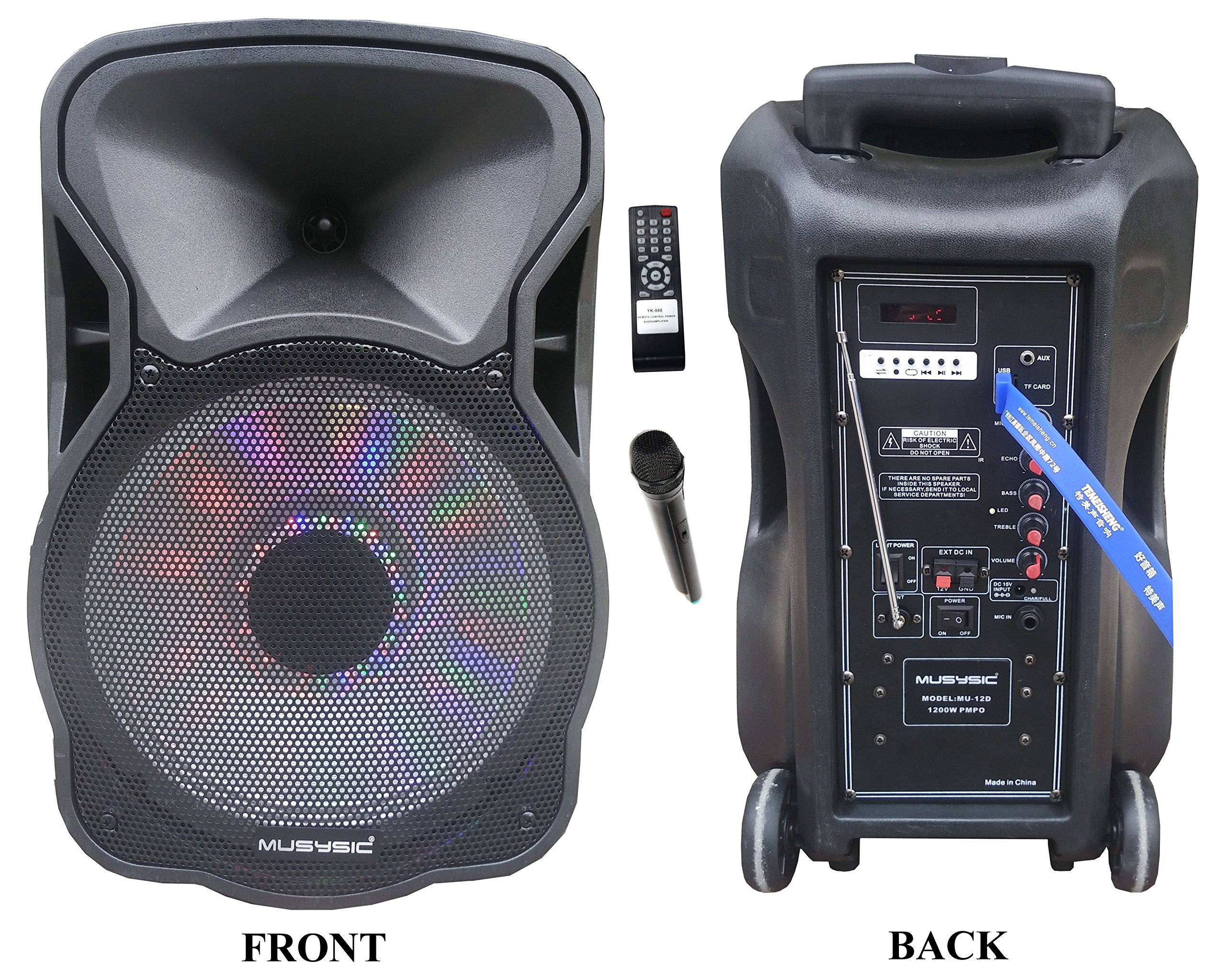 "12"" Portable 1200W Speaker PA System Wireless Mic Bluetooth/REC/USB/SD/FM/Rechargeable battery/LCD Light MU-12D"