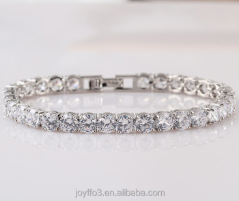 High Quality AAA Round Diamond White Gold Plated Female Cubic Zircon Tennis Bracelet