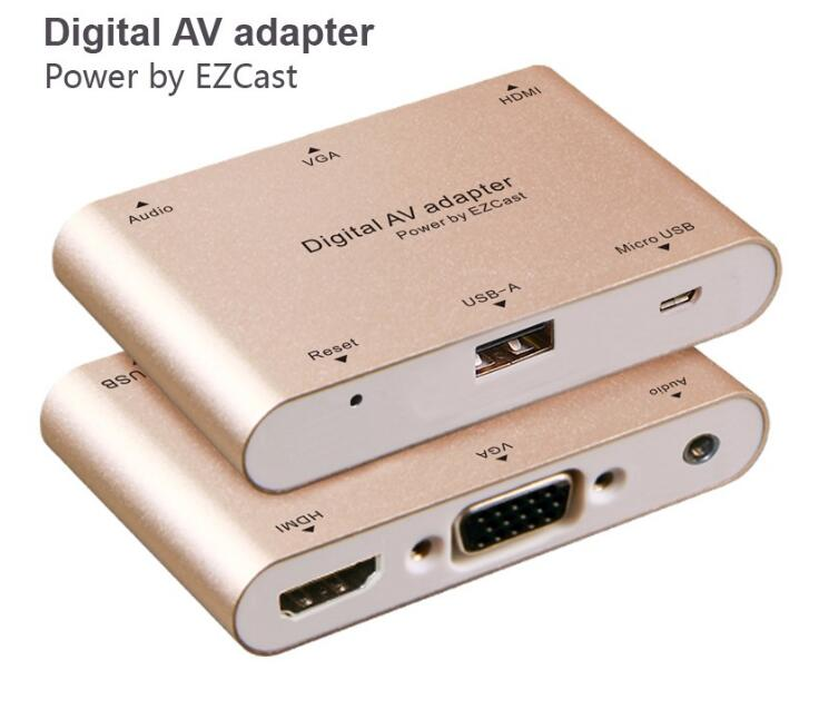 Digital AV Adapter Converter Micro USB to HDM I + VGA + Audio Dual for IOS Android Window MacBook for Ipad Iphone Smartphone