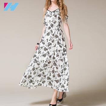 7415a48de27 wholesale maxi dress women summer fashion Floral Print off shoulder plus  size Elegant Chiffon Women long