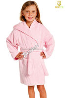 Light weight Solid Pink Hooded Cotton terry kids bathrobe