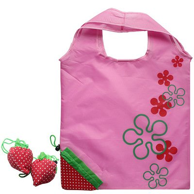 Promotional Customized Folding Drawstring Polyester Strawberry Shopping Bag