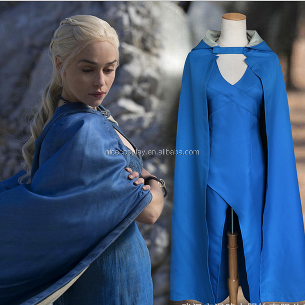 Blue Dress+Cape Halloween Cosplay Game of Thrones Movie Costumes Clothing Factory Sale Custom