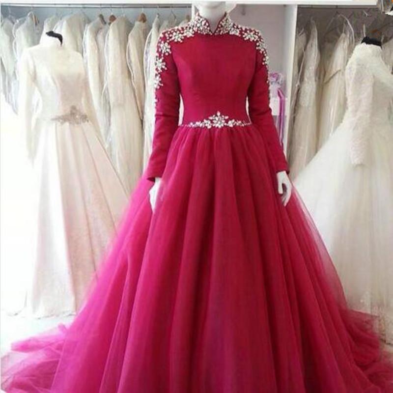 Elegant Long Sleeve Wedding Dresses Muslim Dress 2015: 2016 Elegant Traditional Muslim Long Sleeves Evening