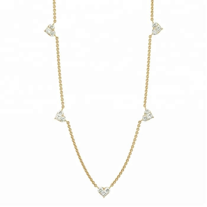 Fashion Women Jewellery 14k 18k Gold 925 Sterling Silver Ladies 18 inch Diamond Charm Necklace Jewelry