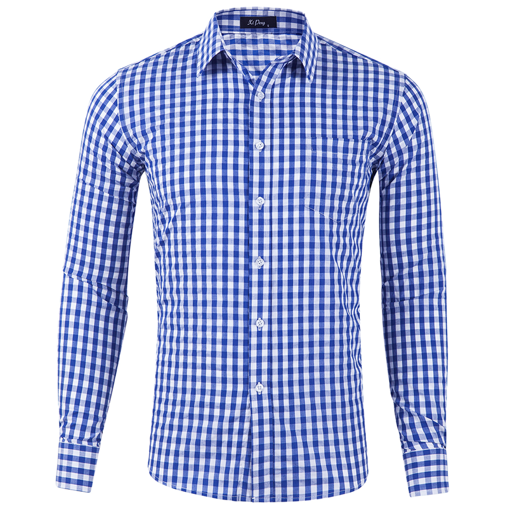 Stock Wholesale Men's Classic Dress Shirt Casual Shirt for Men Long Sleeve Plaid Cotton Shirts фото
