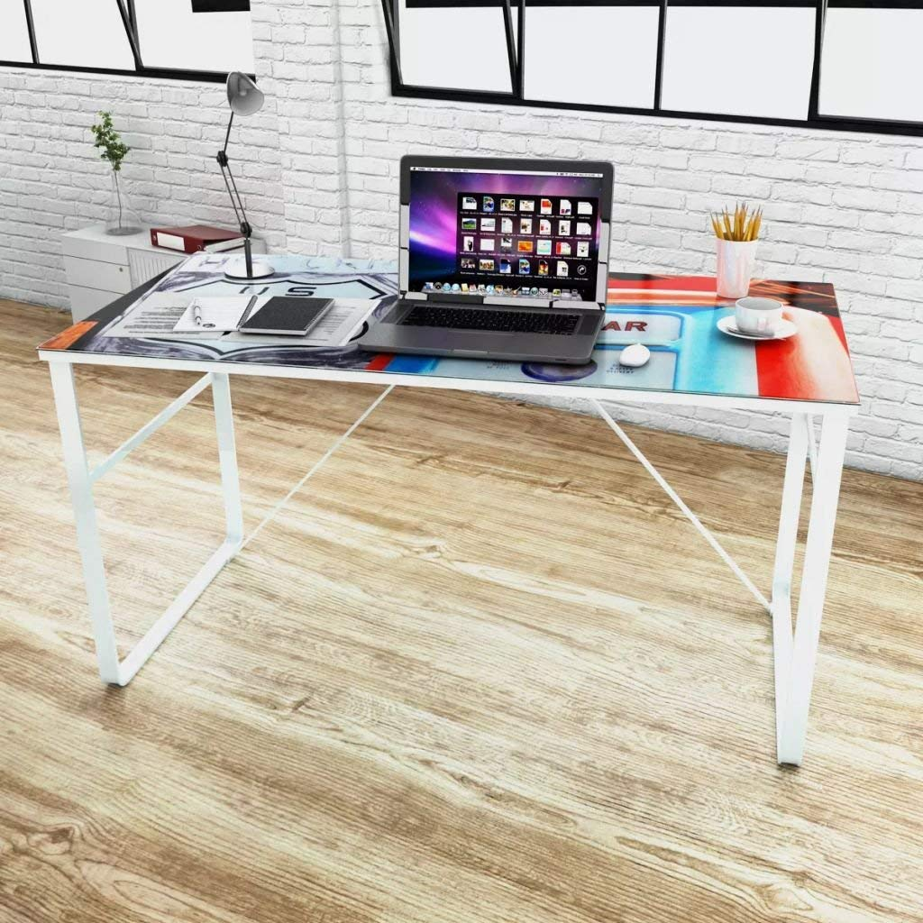 Unique Rectangular Desk Computer Desk Office Desk Tempered Glass Thickness: 0.2""