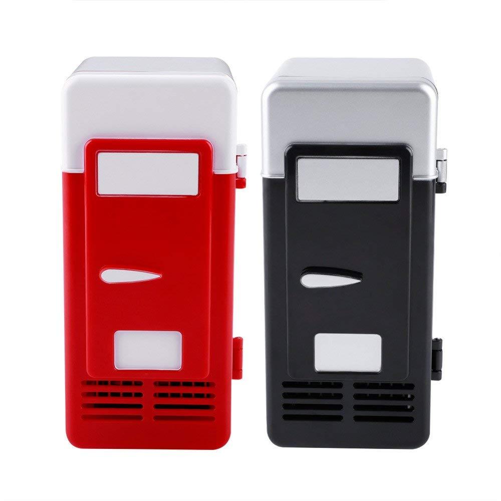 ERTIANANG LED Mini USB Refrigerator USB Refrigerator Drinks Beverage Cans Refrigerator and Heater Kitchen Bar Tool USB Fridge