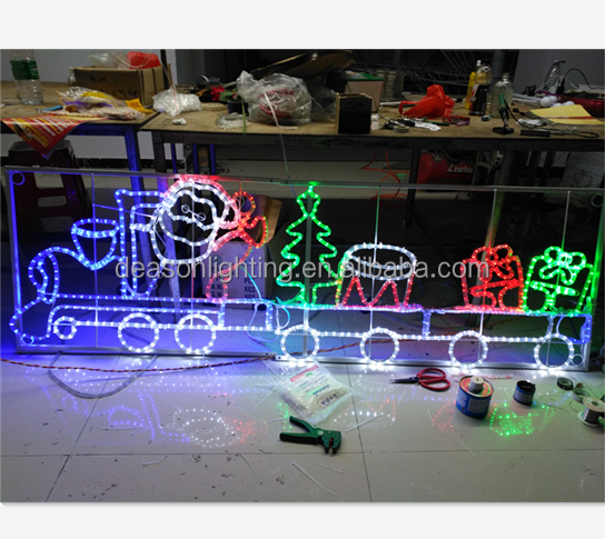 200cm Large Animated Santa and Train Rope Lights Silhouette Decoration