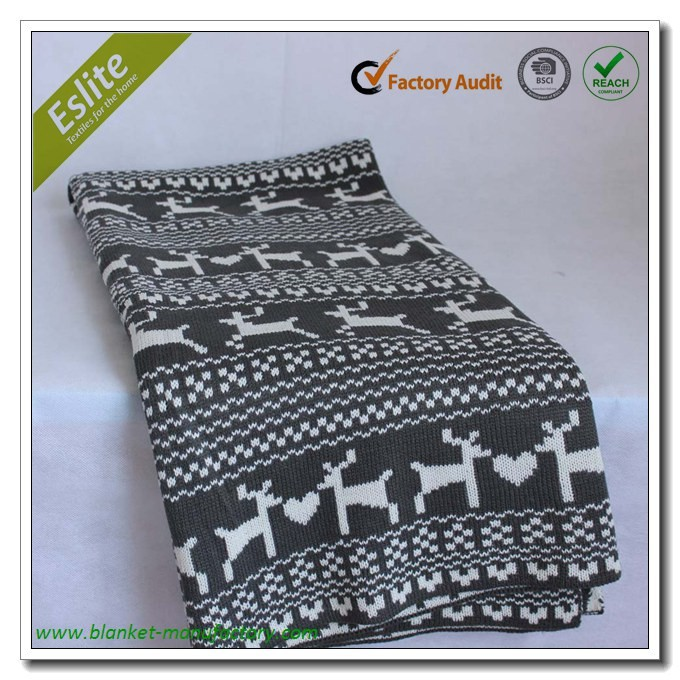 Jacquard Christmas Knitted Cheap Cotton Blanket