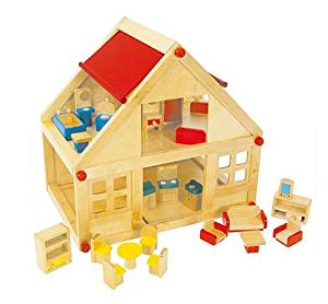 Get Quotations · Evie U0026 Jack Wooden Dolls House With Furniture