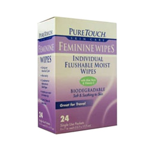 Puretouch Skin Care Feminine Flushable Wipes, 24 Count
