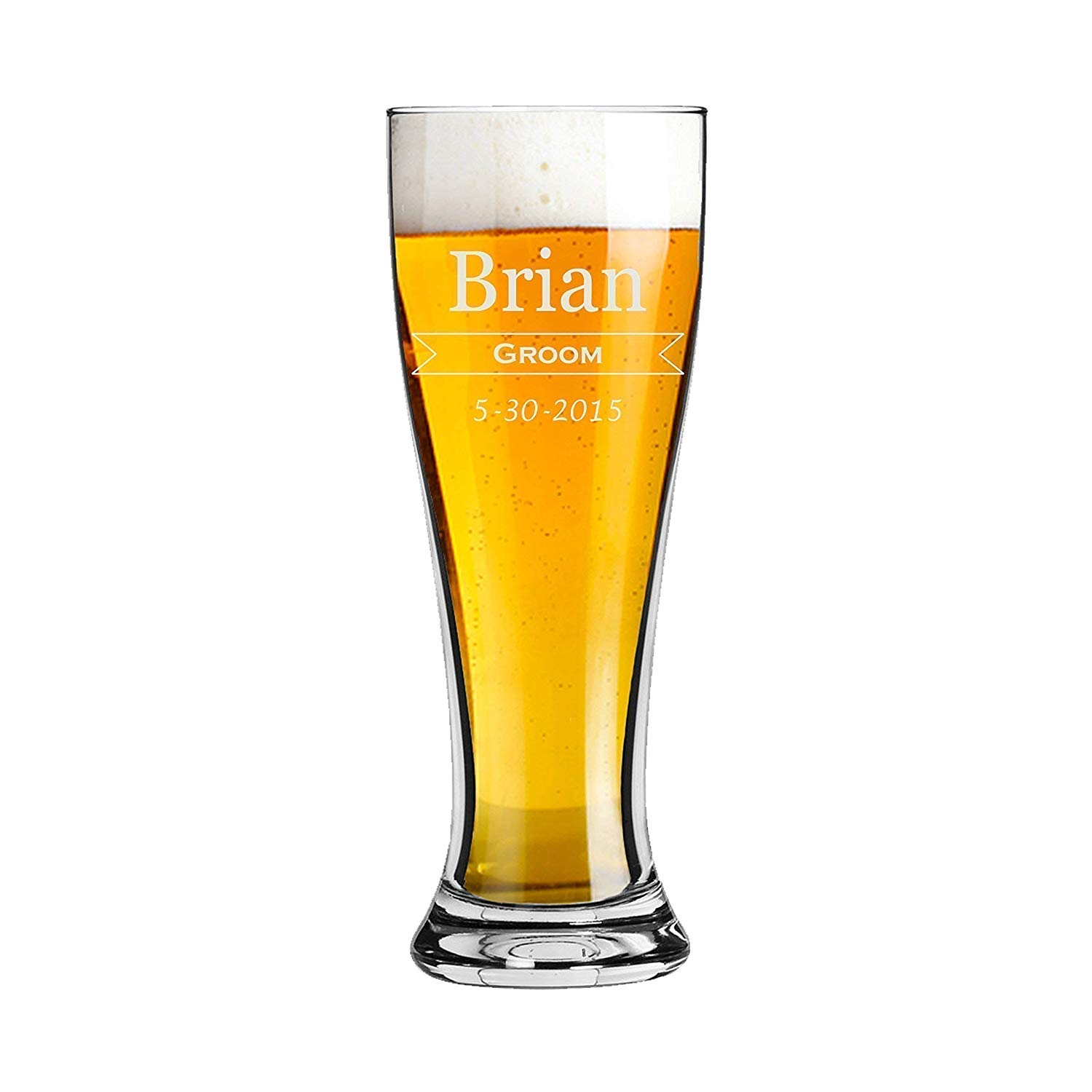 Groomsmen - Pilsner 16 oz Pint Beer Glass - Classic Design - Personalized Custom Engraved - Bride and Groom, Bridesmaid, Bridal Party, Wedding Gift - Any Quantity