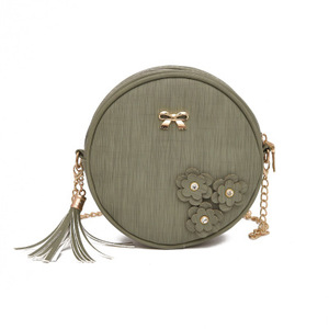 Wholesale 4 Color Cute Zip Hand Bags Beautiful Fashion Round Chains Bag Personality Sling Bags For Women