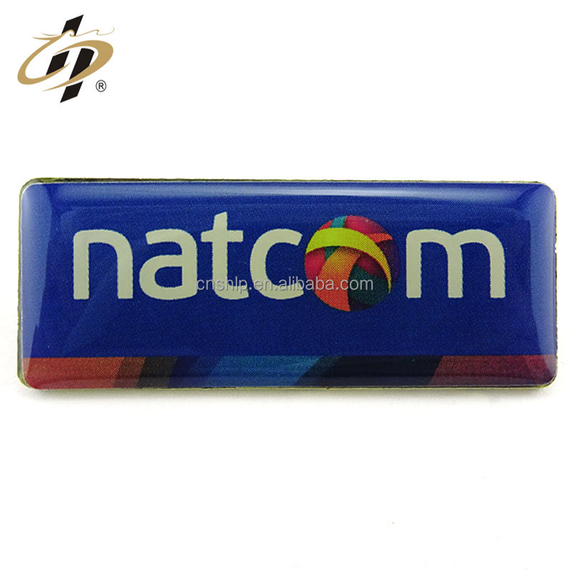 High quality OEM oblong printed epoxy custom metal badge with safety pin