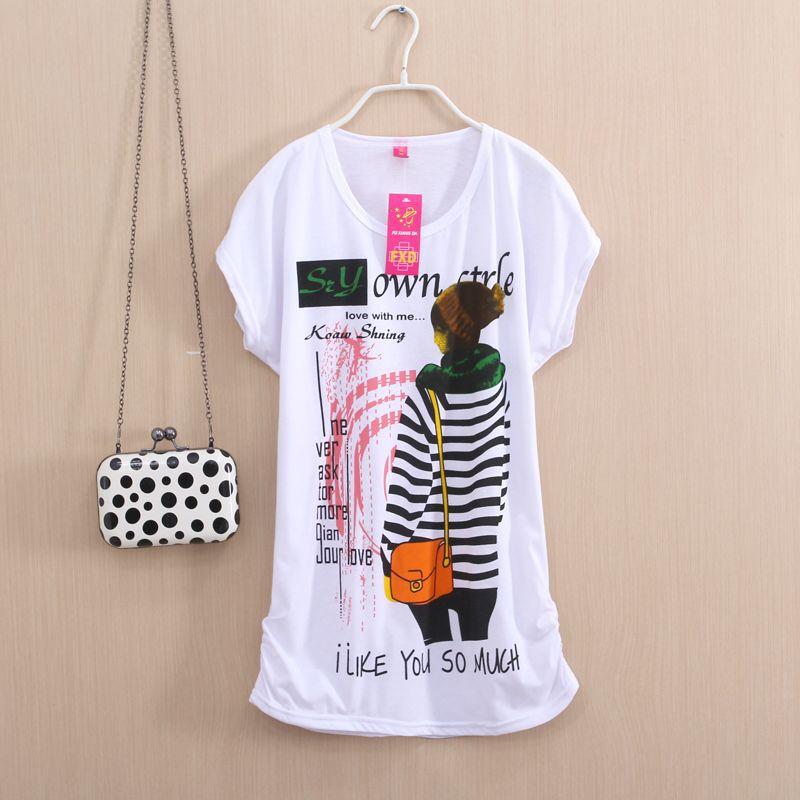 Лето осень женщины верхний тис - рубашки рукава в форме крыла летучей мыши без тары свободного покроя хлопок знаки надписи принт с круглым вырезом женское футболки