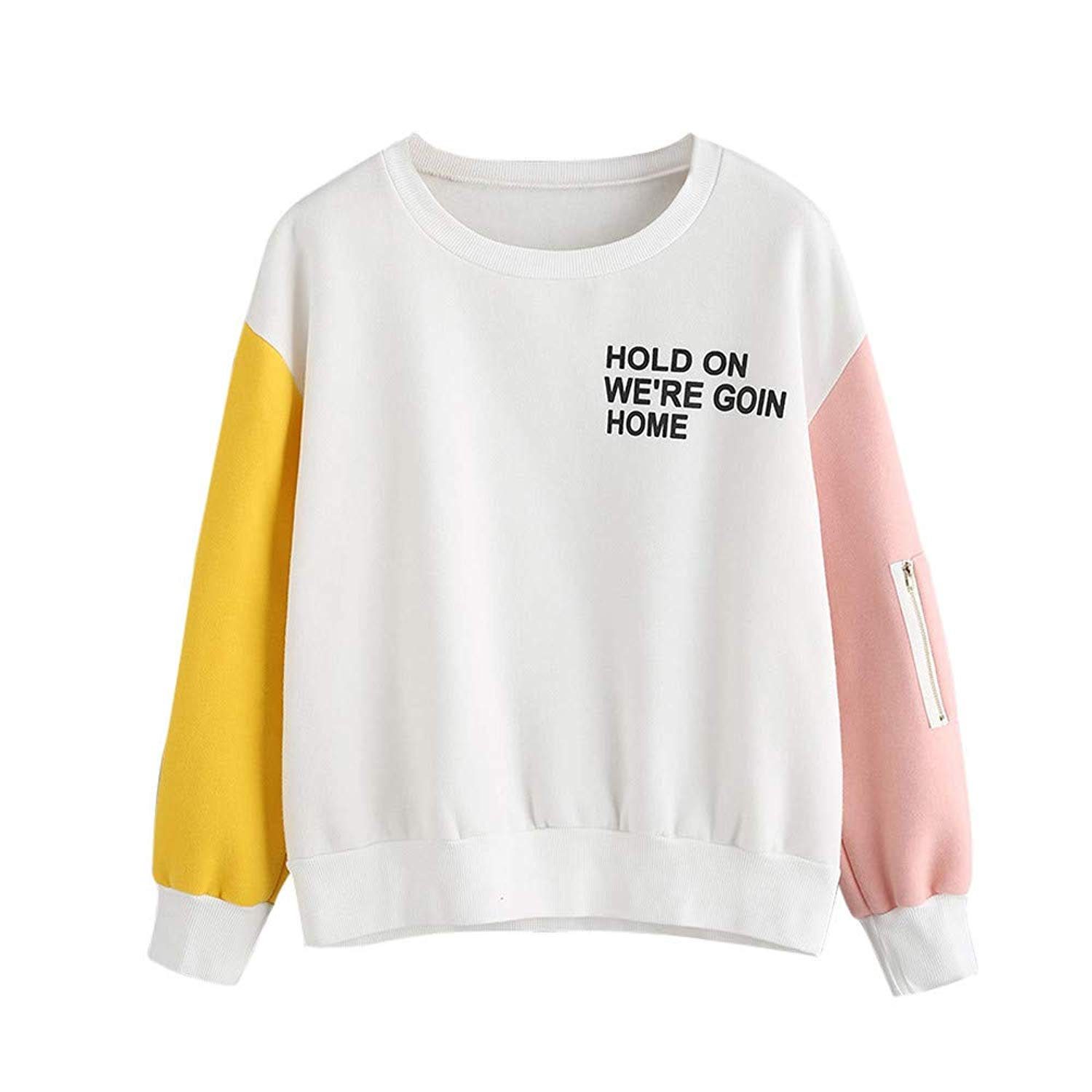 Clearance!Dressin_Women's Casual Stitching Printed O-Neck Sweatshirt Fashion Letter Sleeve Blouse