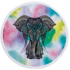 2018 Elephant Purple Thai Style Fashion Round sexy Beach Towel For Summer