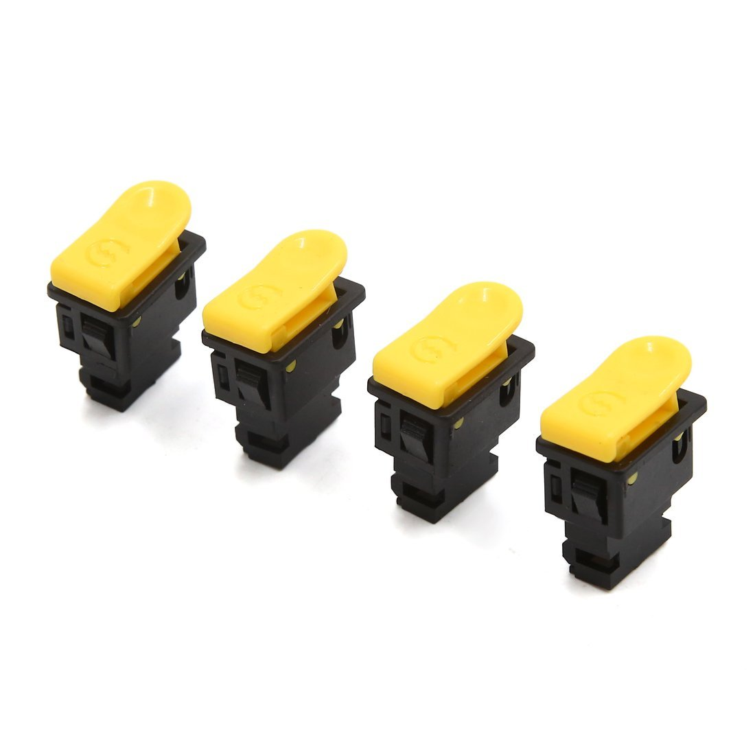 uxcell 4pcs 2 Terminals Motorcycle Electric Power Starting Control Switch Black Yellow
