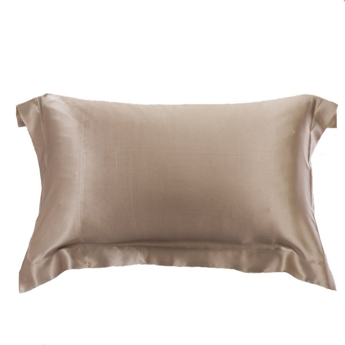 Oosilk 100% Pure Mulberry Charmeuse Silk Pillowcase Cover 19mm for Hair Beauty, 1pc (Standard/Queen, Taupe)