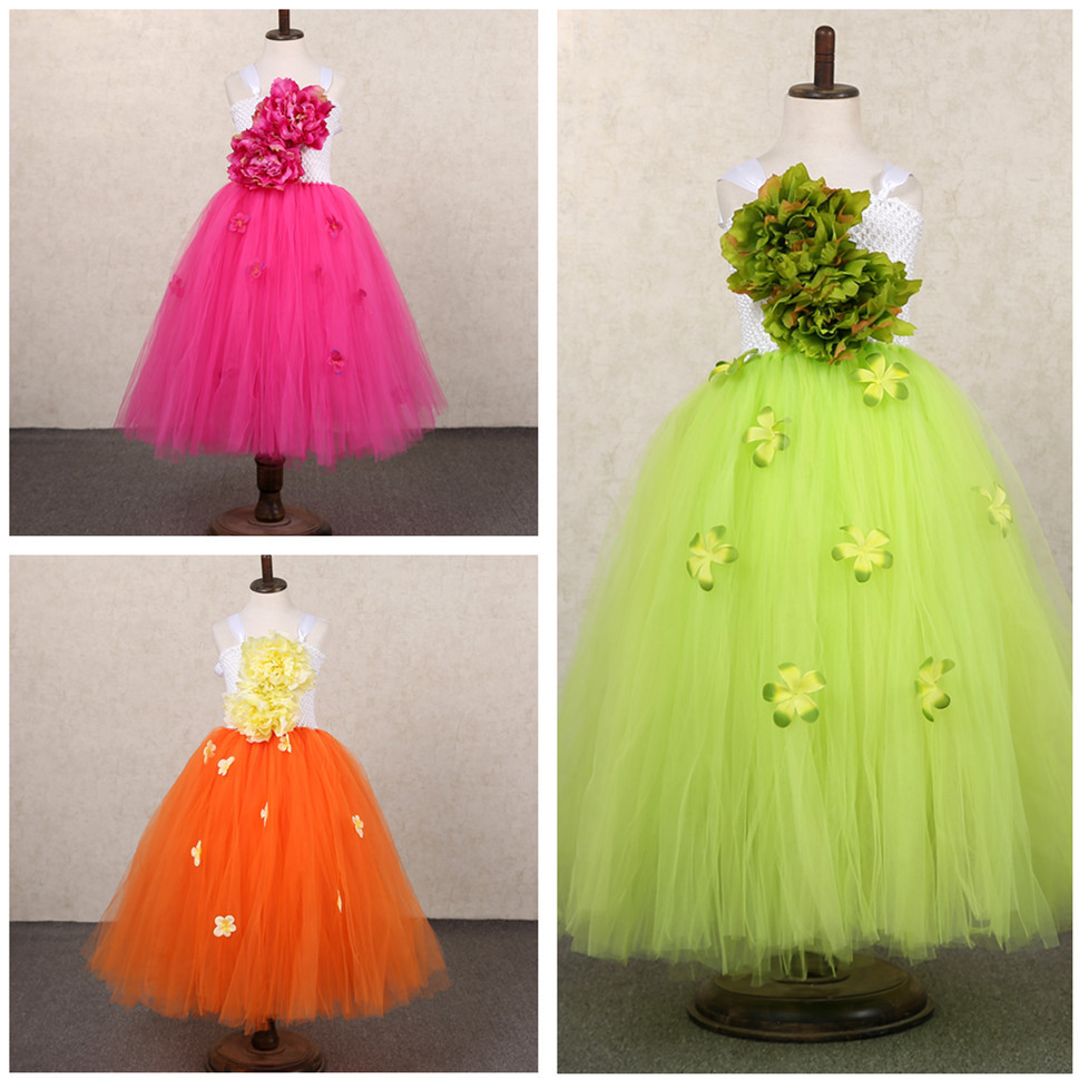 Cute Flower Fairy Tutu Dress Kids Girl Party Dress Princess Pageant Wedding Ball Gown Tulle Flower Girl Dresses