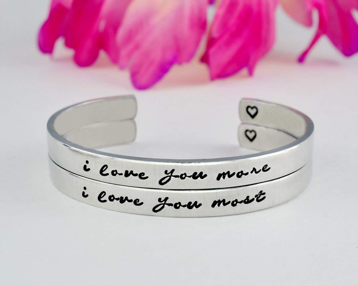 i love you more/i love you most - Hand Stamped Aluminum Cuff Bracelets Set of 2, Mom Daughter Sisters Friends BFF Couples Lovers Family Love Gift, Mother's Day, Girlfriend Valentines Day Gift, V2