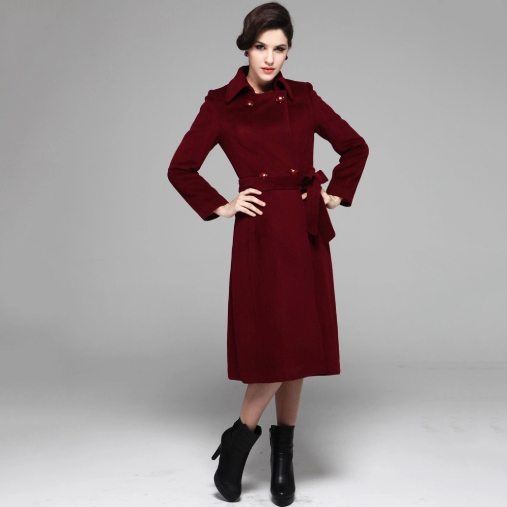 Red wool coats for women