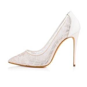 Ivory Lace High Heel Pointed Toe Bridal Shoes Woman