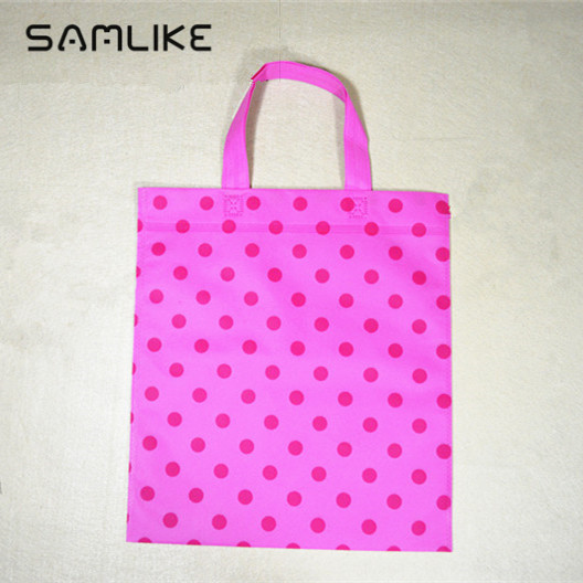 Non woven shopping bags tote clothes shoe bags recycle bags with dot customized