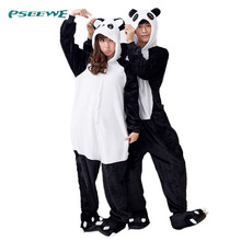 hot !! flannel Panda cartoon animal stitch cow one piece sleepwear, free shipping, autumn & winter sleepwear, new style