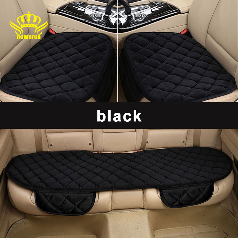 ROWNFUR   Universal Front Back Winter Car Seat Cover Velvet Breathable Keep Warm  flannel car seat covers